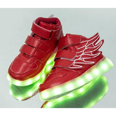 Unisex LED Light-Up Shoes with USB Charging - Red / 9.5