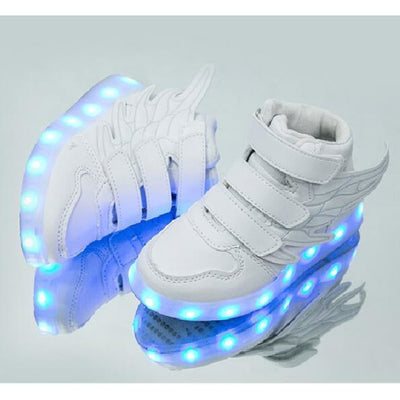 Unisex LED Light-Up Shoes with USB Charging - White / 9.5