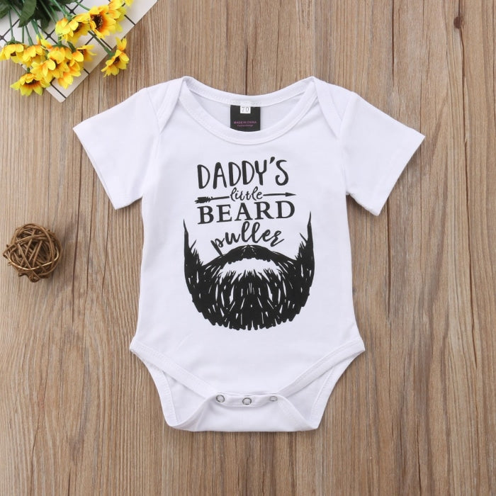 Unisex Newborn Babies Bodysuit with Funny Beard Daddy Letter Print