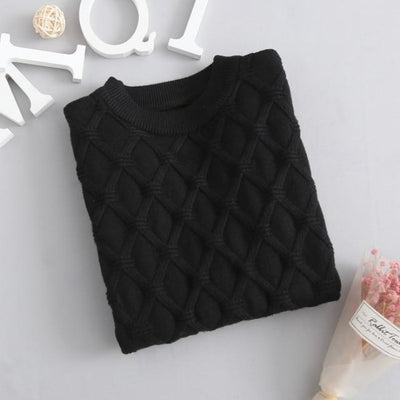 Unisex Solid Knitted Sweater/Pullover - Black / 3-4 years