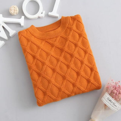 Unisex Solid Knitted Sweater/Pullover - Orange / 3-4 years