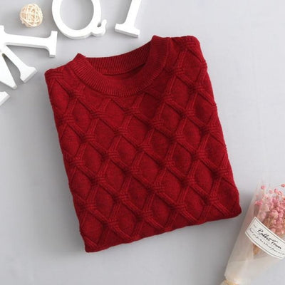 Unisex Solid Knitted Sweater/Pullover - Red / 3-4 years