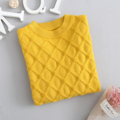 Unisex Solid Knitted Sweater/Pullover - Yellow / 3-4 years