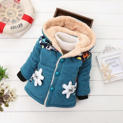 Unisex Stylish Winter Hooded jacket for Kids - Blue 1 / 9-12 months
