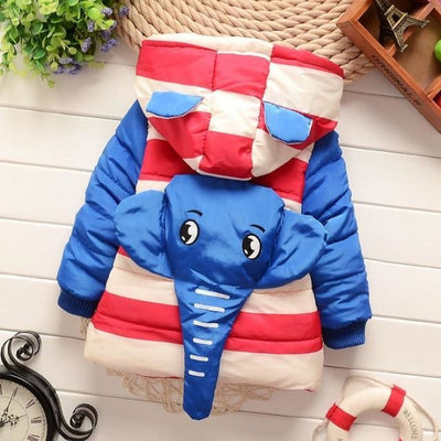 Unisex Stylish Winter Hooded jacket for Kids - Blue / 9-12 months