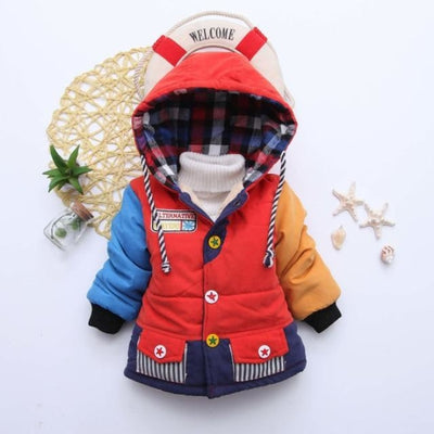Unisex Stylish Winter Hooded jacket for Kids - Red 1 / 9-12 months