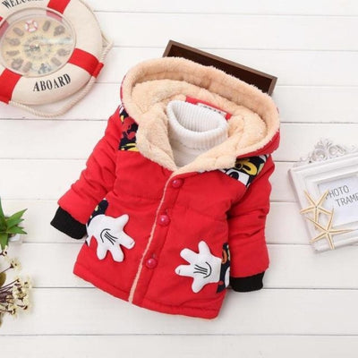 Unisex Stylish Winter Hooded jacket for Kids - Red 2 / 9-12 months