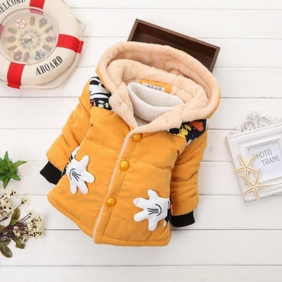 Unisex Stylish Winter Hooded jacket for Kids - Yellow / 9-12 months