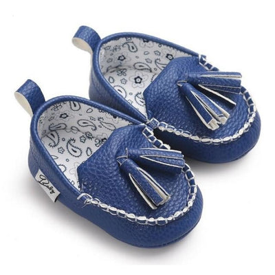 Unisex Toddlers Leather Soft Sole Anti-slip Shoes with Tassels - Blue / 13-18 Months