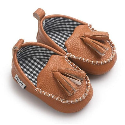 Unisex Toddlers Leather Soft Sole Anti-slip Shoes with Tassels - Brown / 0-6 Months