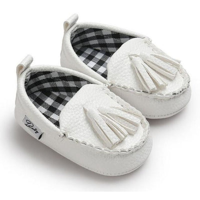 Unisex Toddlers Leather Soft Sole Anti-slip Shoes with Tassels - White / 13-18 Months