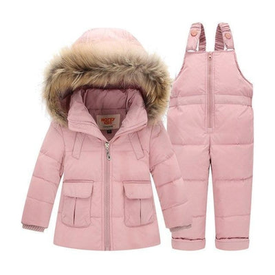 Unisex Trendy Black Snowsuit - pink / 9-12 months