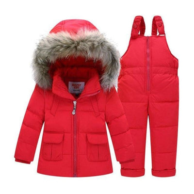 Unisex Trendy Black Snowsuit - red / 9-12 months