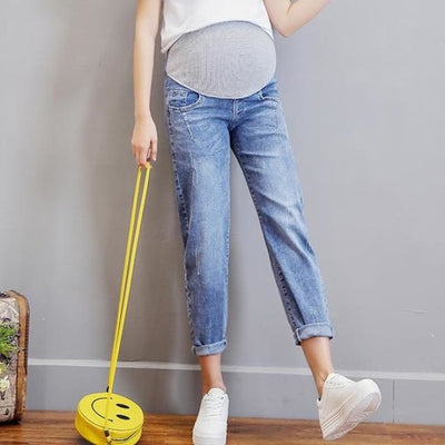 Vintage Washed Denim Maternity Jeans Pants with Elastic Waist Belly - Blue / M