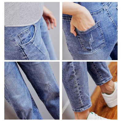 Vintage Washed Denim Maternity Jeans Pants with Elastic Waist Belly
