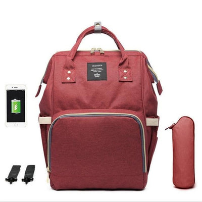 Waterproof Maternity Backpack for Mommy - Dark Red