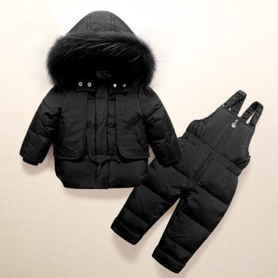 White duck down Feathered Unisex Winter hoodie - Black / 9-12 months