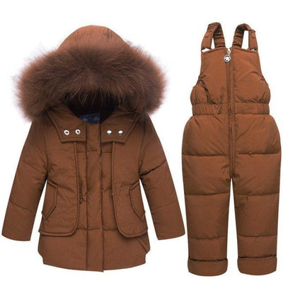 White duck down Feathered Unisex Winter hoodie - Brown / 9-12 months