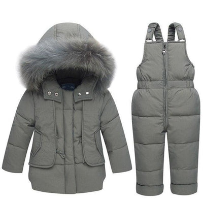 White duck down Feathered Unisex Winter hoodie - Gray / 9-12 months
