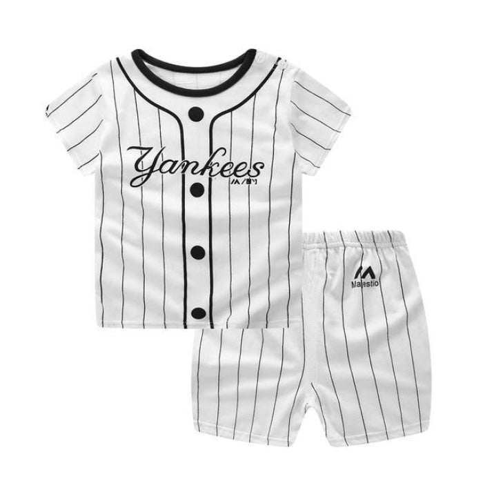 White Stripes Yankees Clothing Set Baby Boy - White / 3-6 months
