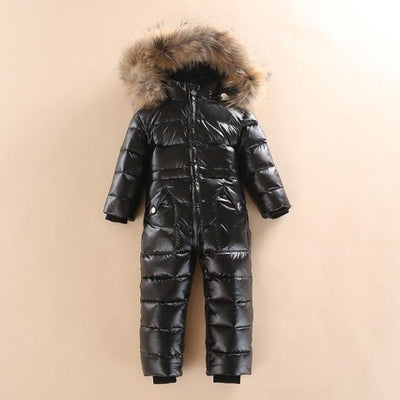 Winter Climbing Duck Down Outdoor Jumpsuit for Baby Boys Girls - Black / 18-24 months