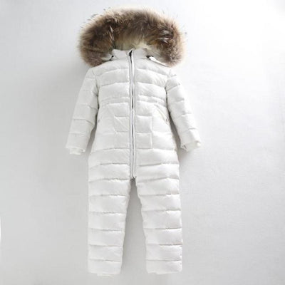 Winter Climbing Duck Down Outdoor Jumpsuit for Baby Boys Girls - White / 18-24 months