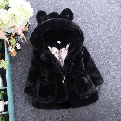 Winter Faux Fur Fleece coat for Girls - black / 18-24 months
