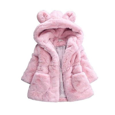 Winter Faux Fur Fleece coat for Girls - pink / 18-24 months
