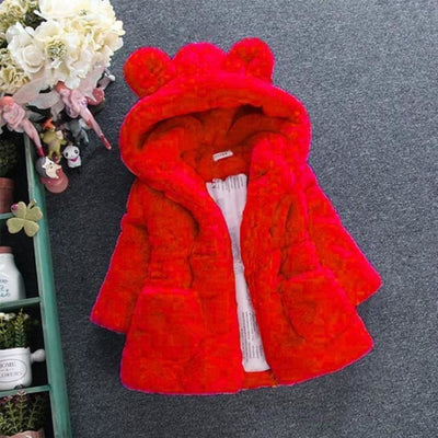 Winter Faux Fur Fleece coat for Girls - red / 18-24 months