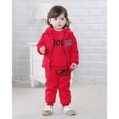 Winter Fleece Clothing Set for Girls - Red / 9-12 months