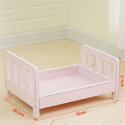 Wooden Bed Photo Props for Newborn - Pink