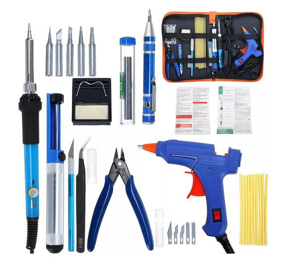 TOOL KIT WITH SOLDER IRON & GLUE GUN
