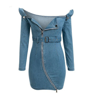 Off Shoulder Denim Dress