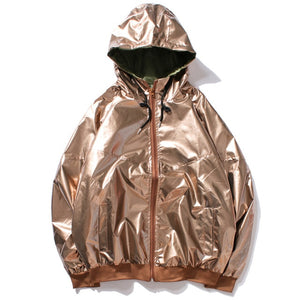 Tan Shiny Windbreaker Jacket
