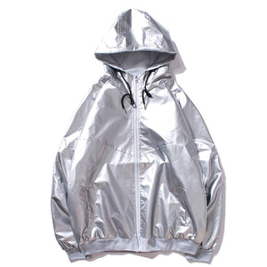 Silver Shiny Windbreaker Jacket
