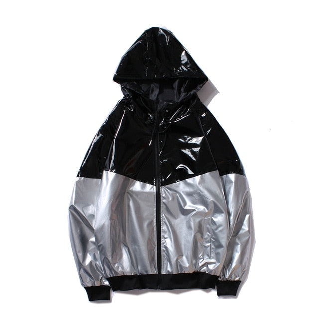 Black & Silver Shiny Windbreaker Jacket