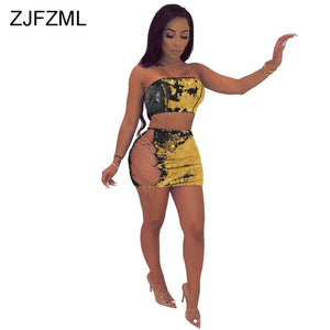 Yellow Glitter Sequin Hollow Out Two Piece Mini Skirt Set