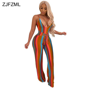 Colorful Deep V Stripe Jumpsuit
