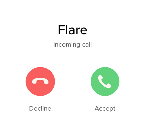 Graphic of an incoming phone call from Flare with a decline and accept button.