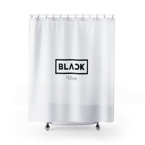 ALL BLACK FLY Shower Curtains