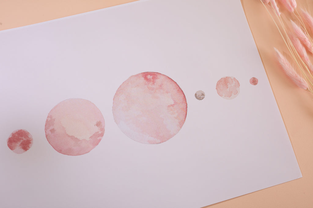 Dusky Pink Watercolor Moon Print