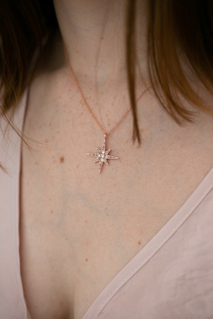 Celestial Rose Gold North Star Pendant Necklace