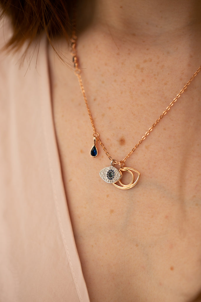 Rose Gold Diamante Double Evil Eye Pendant Necklace