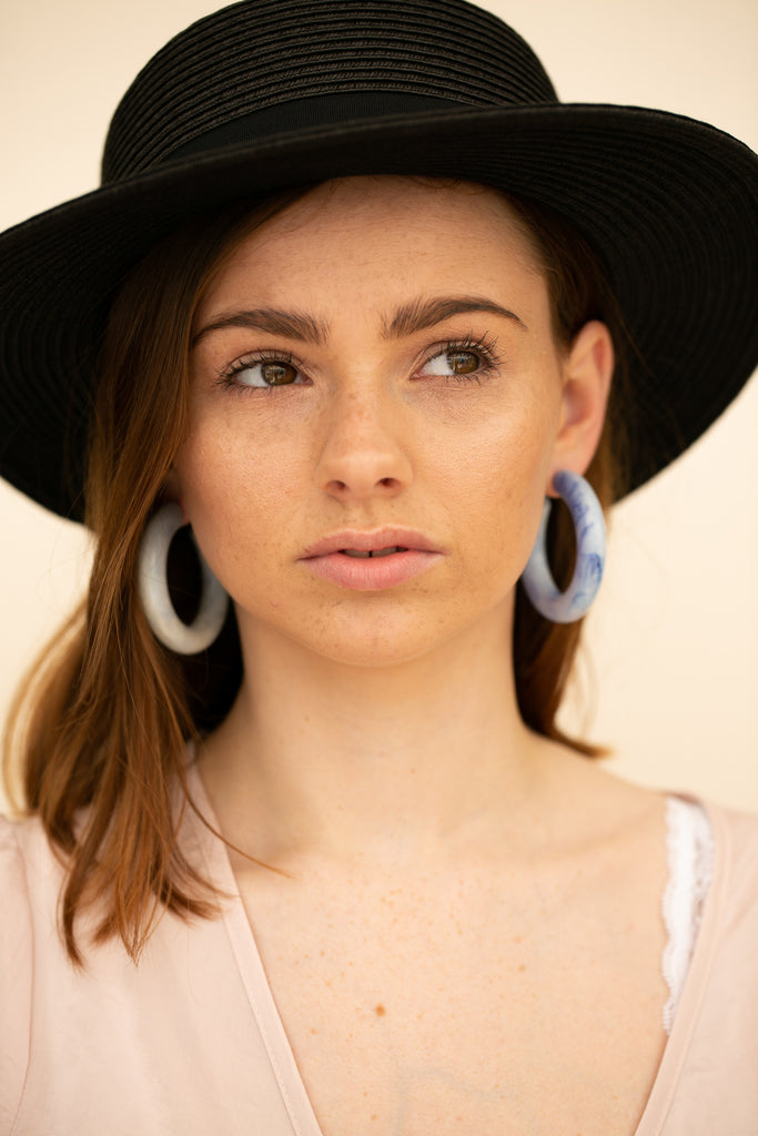 Blue And White Marbled Acrylic Hoop Earrings