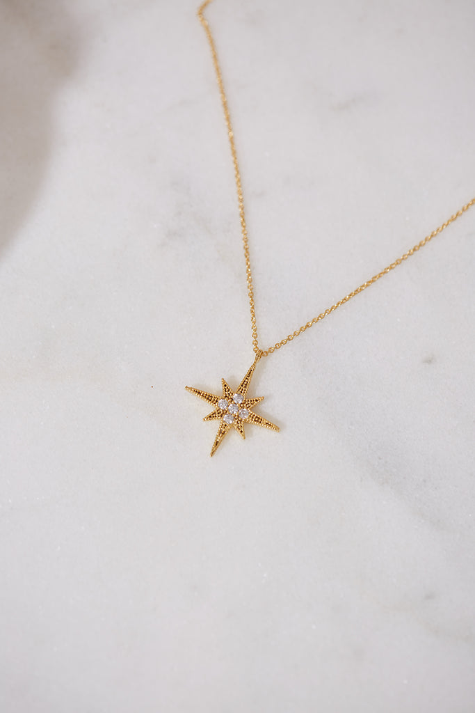 Celestial Gold North Star Pendant Necklace