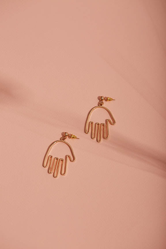Gold Hand Statement Earrings