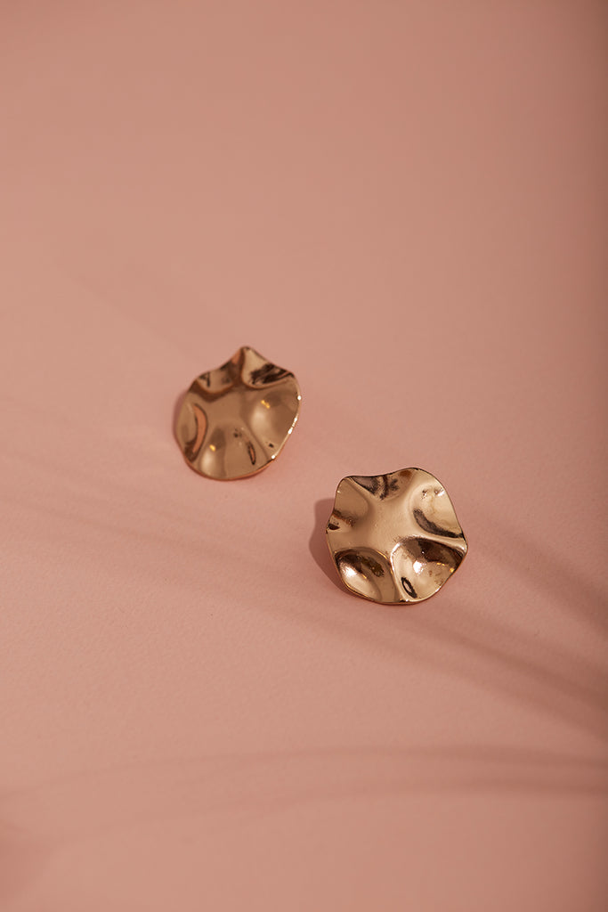 Gold Hammered Coin Circle Stud Earrings