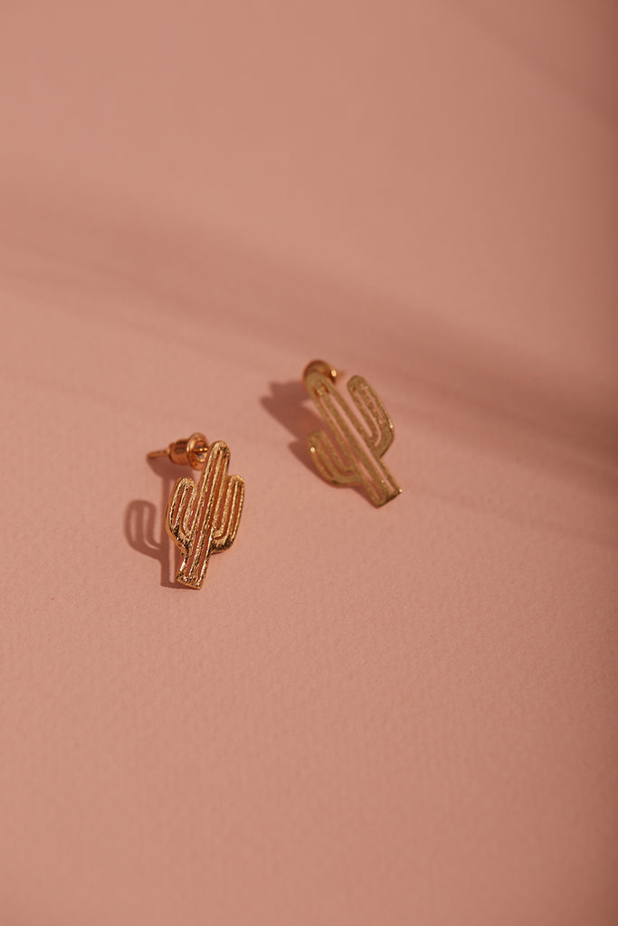 Gold Cactus Stud Earrings