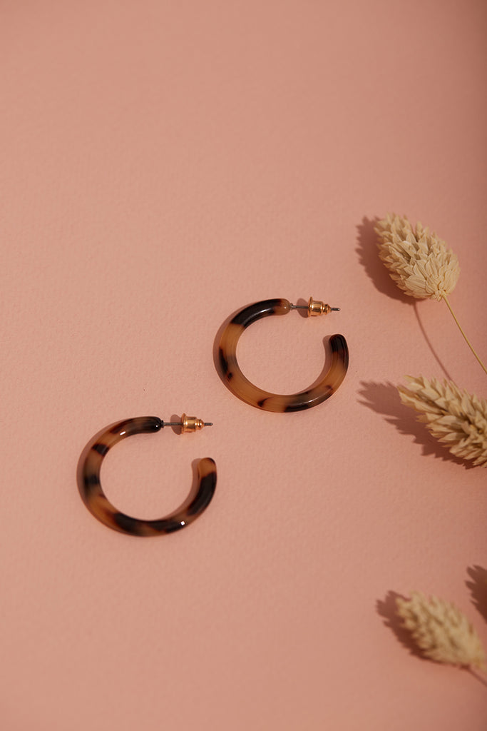 Mini Tortoiseshell Hoop Earrings