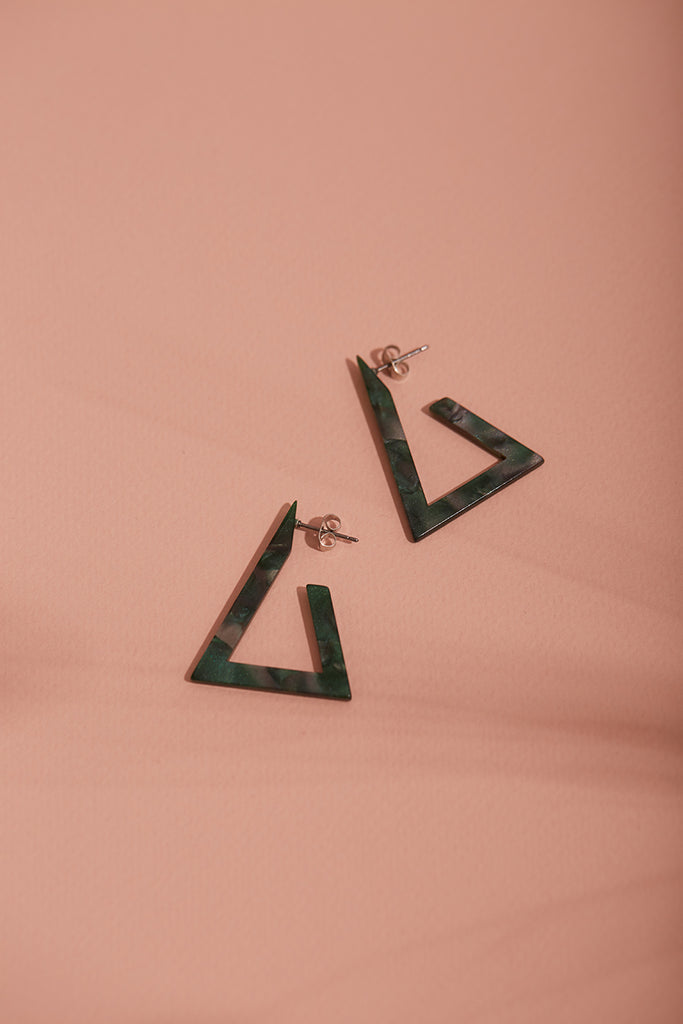 Green Triangle Tortoiseshell Earrings